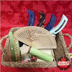 CHOICE OF 3 Seagrass Basket Lots: Oriental Theme (2 Hand Fans, Trinket Boxes, Tin, Mirror, Wood Craf