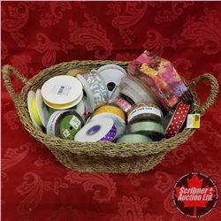 CHOICE OF 2 Seagrass Basket Lots: Large Variety of Ribbon & 1 Floral Box