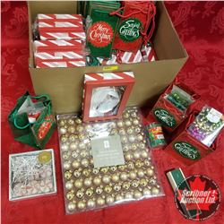 Box Lot - Christmas Variety: Bags, Bulbs, Boxes, Candles, Bows, Cocktail Forks
