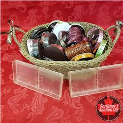 "Seagrass Basket Lot - Large Variety Ribbon with ""Chocolate"" Print + 2 ""Chocolate"" Print Moulds"