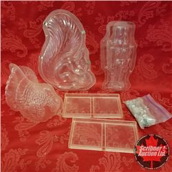 "Box Lot - Hard Plastic Moulds: Turkey, Squirrel, Nutcracker, ""Chocolate"" Print"