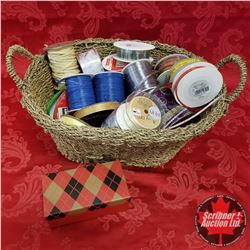 CHOICE OF 2 Seagrass Basket Lots: Large Variety of Ribbon & 1 Tartan Box