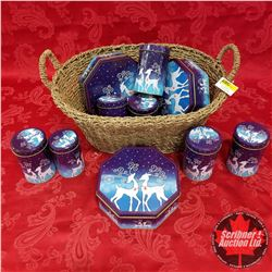 Seagrass Basket Lot: Blue Christmas Tins (10)