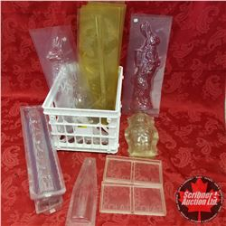 "Variety Large Moulds (incl: Santa, Easter Bunny (2), Hockey Sticks, ""Chocolate"" Print, etc !)"