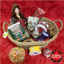 CHOICE OF 3 Seagrass Basket Lots: Christmas Theme (Doll, Tins, Ribbon, Candy Canes, Ornaments, etc!)