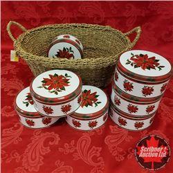 Seagrass Basket Lot: Poinsettia Tins (7)