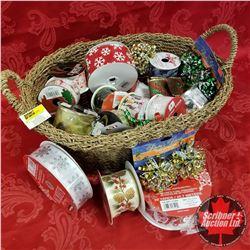 Seagrass Basket Lot: Christmas Ribbon & Bows
