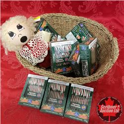 CHOICE OF 2 Seagrass Basket Lots: Candy Canes & Doll (Blonde)