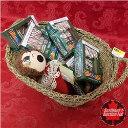 CHOICE OF 2 Seagrass Basket Lots: Candy Canes & Doll (Brunette)