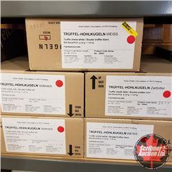 5 Boxes Truffel-Hohlkugeln (2kg per box): Truffle Shells Milk - Vollmilch (2); Truffle Shells White