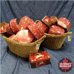 Seagrass Baskets (2) + Christmas Tins (21)