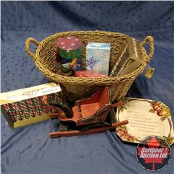 CHOICE OF 2 - Seagrass Basket Lot: Christmas Plate, Tins, Candy Canes + Wooden Rocking Horse