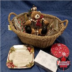 CHOICE OF 2 - Seagrass Basket Lot: Christmas Plate, Tins, Candy Canes + Bear Jar