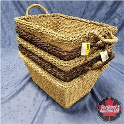 CHOICE OF 6 STACKS : Seagrass Baskets - 5 Per Stack (Dark & Light)