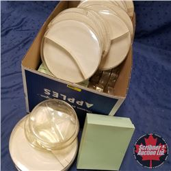 Box Lot - Packaging : Square Green & Round Tan/Clear