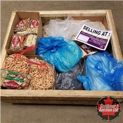 Crate Lot: Opened or Past Due Food or Chocolate Items (Peanuts, Coconut, Poppy Seed, Almonds, etc!)