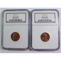 (2) 1936-S LINCOLN CENTS