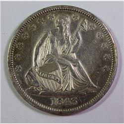 1843-O SEATED HALF DOLLAR AU/UNC
