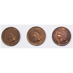 1904, 1903 AND 1899 INDIAN CENTS