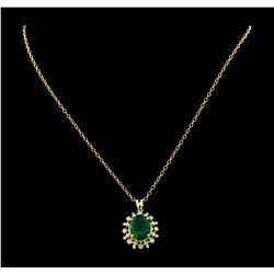 6.40 ctw Emerald and Diamond Pendant With Chain - 14KT Yellow Gold
