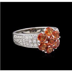 2.46 ctw Orange Sapphires and Diamond Ring - `14KT White Gold