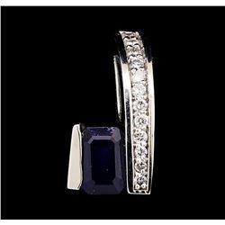 1.05 ctw Sapphire And Diamond Pendant - 14KT White Gold