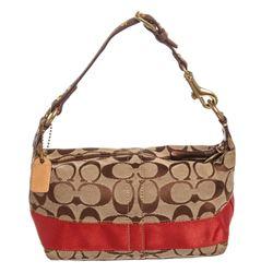 Coach Brown Monogram Canvas Leather Trim Mini Baguette Handbag