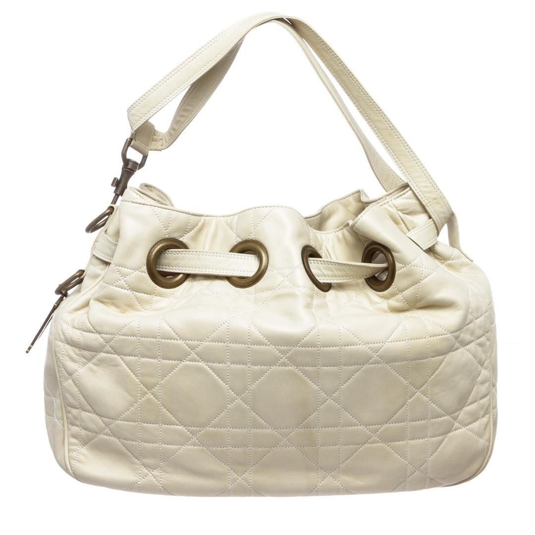 939646c309 Image 1 : Christian Dior Cream Cannage Quilted Lambskin Leather Drawstring  Shoulder Bag ...