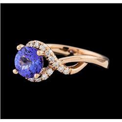 1.54 ctw Tanzanite and Diamond Ring
