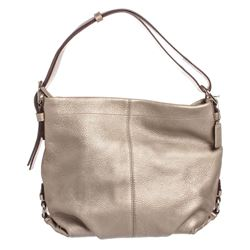 Coach Metallic Silver Pebbled Leather Shoulder Handbag