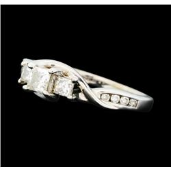 0.50 ctw Diamond Three Stone Ring - 10KT White Gold