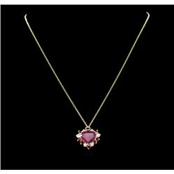 5.29 ctw Ruby and Diamond Pendant - 14KT Yellow Gold