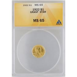 1922 $1 Grant/Star Gold Coin ANACS MS65