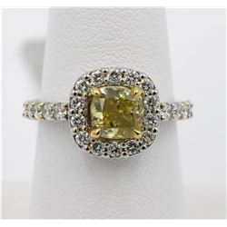 1.63 ctw Yellow and White Diamond Ring - 14KT White and Yellow Gold