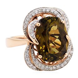 8.80 ctwGolden Tourmaline And Diamond Ring - 14KT Rose Gold