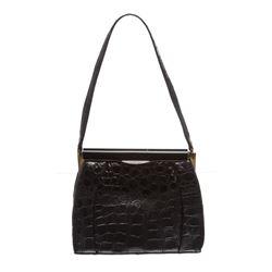 Fassbender Black Croc Vintage Leather Handbag