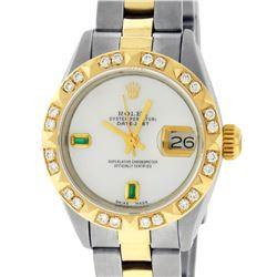 Rolex Ladies 2 Tone 14K MOP & Pyramid Diamond Datejust Wriswatch