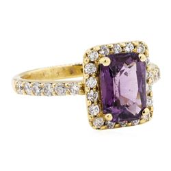 3.42 ctw Lavender Spinel And Diamond Ring - 14KT Yellow Gold
