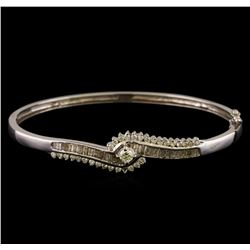 1.17 ctw Diamond Bangle Bracelet - 14KT White Gold