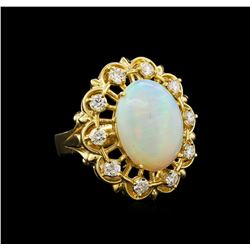 14KT Yellow Gold 3.37 ctw Opal and Diamond Ring