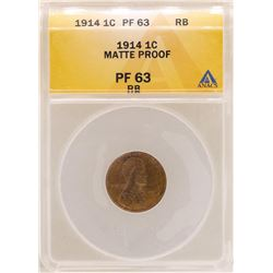 1914 Lincoln Wheat Cent Matte Proof Coin ANACS PF63RB