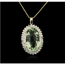 14KT Yellow Gold 31.76 ctw Amethyst and Diamond Pendant With Chain