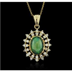 14KT Yellow Gold 3.89 ctw Opal and Diamond Pendant With Chain