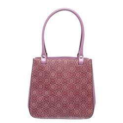 Salvatore Ferragamo Purple Embossed Leather Shoulder Handbag