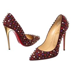 Christian Louboutin Wine Suede Follies Cabo Heels Pumps Shoes