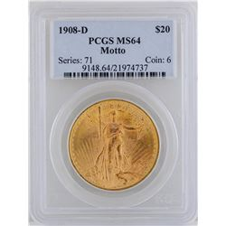 1908-D $20 St. Gaudens Double Eagle Gold Coin NGC MS64