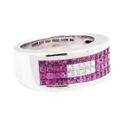 2.02 ctw Pink Sapphire And Diamond Wide Band - 14KT White Gold