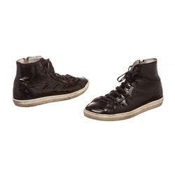 Burberry Black Patent Leather High Top Lace Front Sneakers