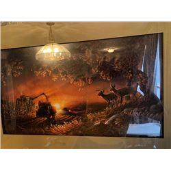 *SUNSET HARVEST* FRAMED DEER ART BY FAMOUS ARTIST TERRY REDLIN(1937-2016)