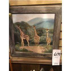 HAND PAINTED FRAMED and SIGNED ART WORK DEPICTING 3 GIRAFFE